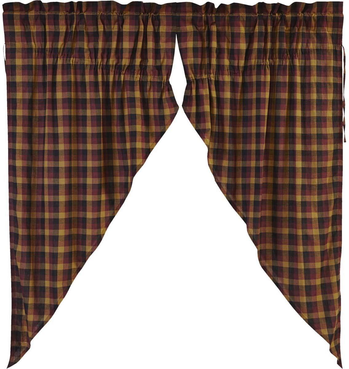 VHC Brands Primitive Window Heritage Farms Prairie Curtain Pair, Deep Burgundy Red