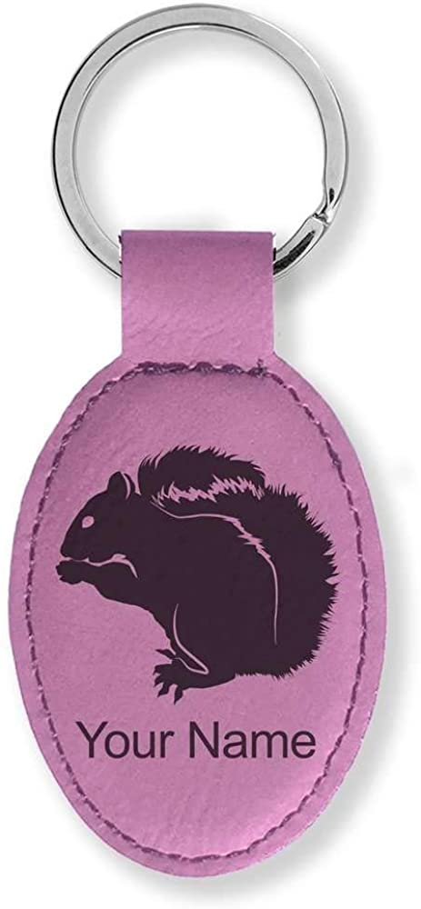 Faux Leather Oval Keychain, Squirrel, Personalized Engraving Included