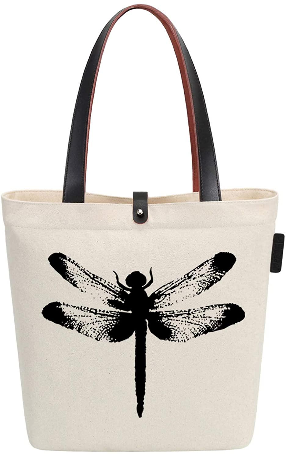 So'each Canvas & Beach Tote Bag Dragonfly Animal Graphic Handbag Shoulder Bag