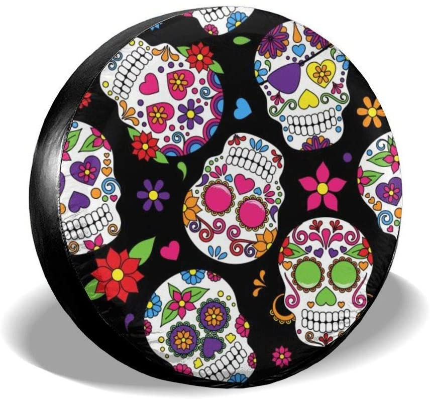 ADOUGEDU Sugar Skull - Spare Wheel Tire Cover 15inch - SUV RV Spare Tire Cover - Waterproof Dust-Proof Wheel Covers for Cars Jeep Trailer RV SUV Truck