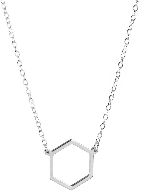 Deidreamers 925 Sterling Silver Hexagon Pendant Necklace