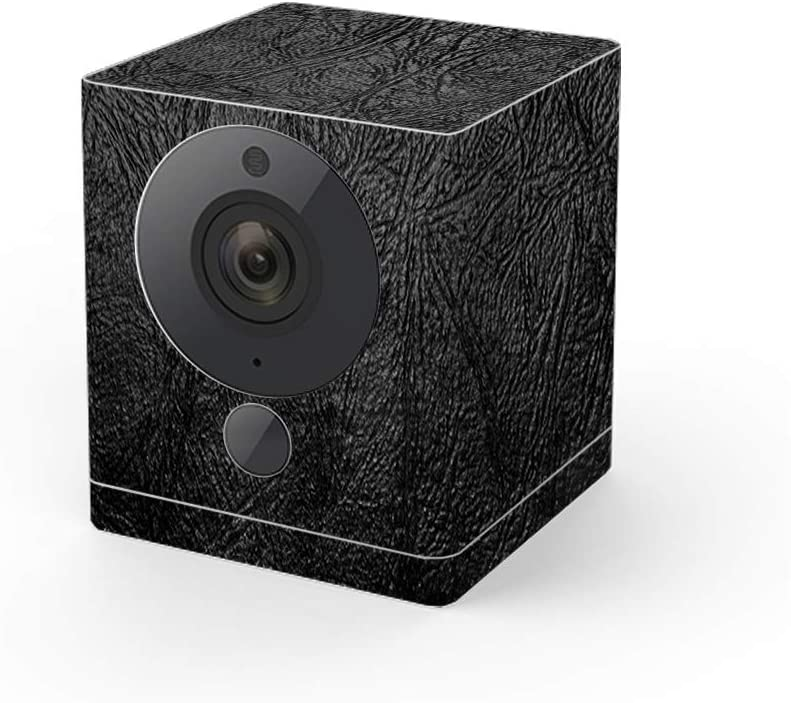 MightySkins Skin Compatible with Wyze Cam V2 - Black Leather | Protective, Durable, and Unique Vinyl Decal Wrap Cover | Easy to Apply, Remove, and Change Styles | Made in The USA