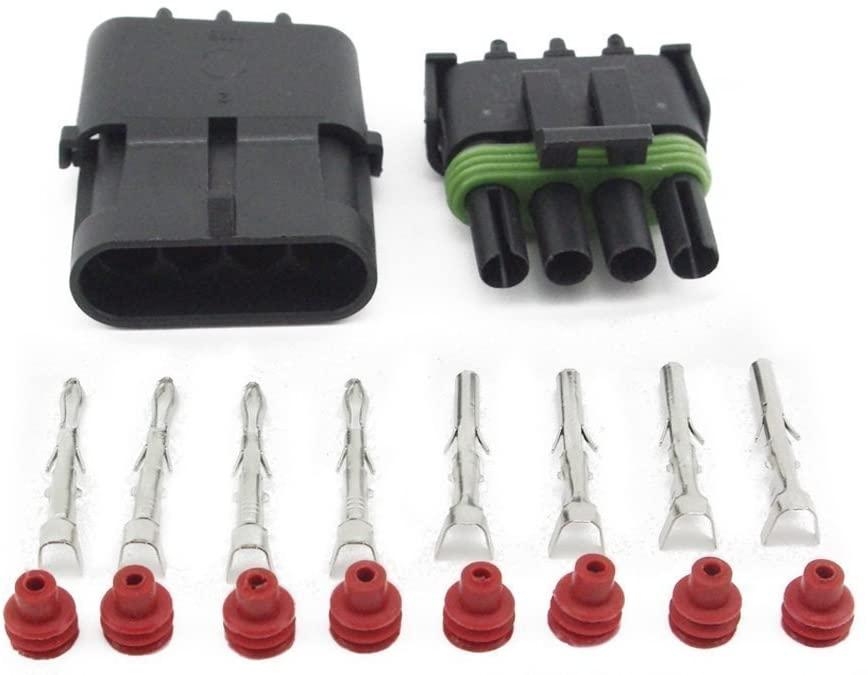 Kaifa 10 Sets Kit 4 Pin Way Single row Waterproof Electrical Wire Cable Automotive Connector Plug (4P Single row)