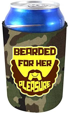 Coolie Junction Bearded For Her Pleasure Funny Can Coolie Camo