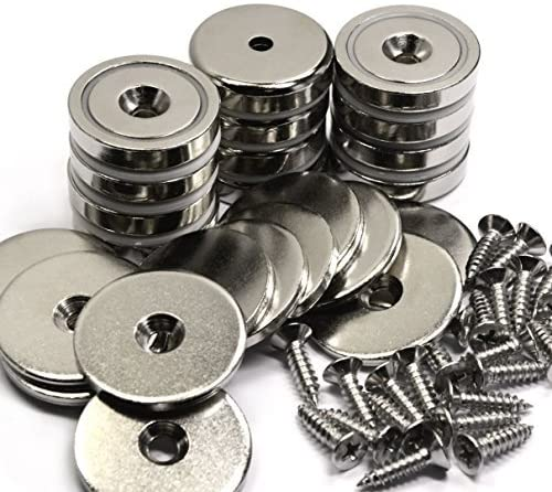 12 Packs of CMS Magnetics 88 LB Holding Power Neodymium Cup Magnets w/ #10 Countersunk Hole Dia 1.26