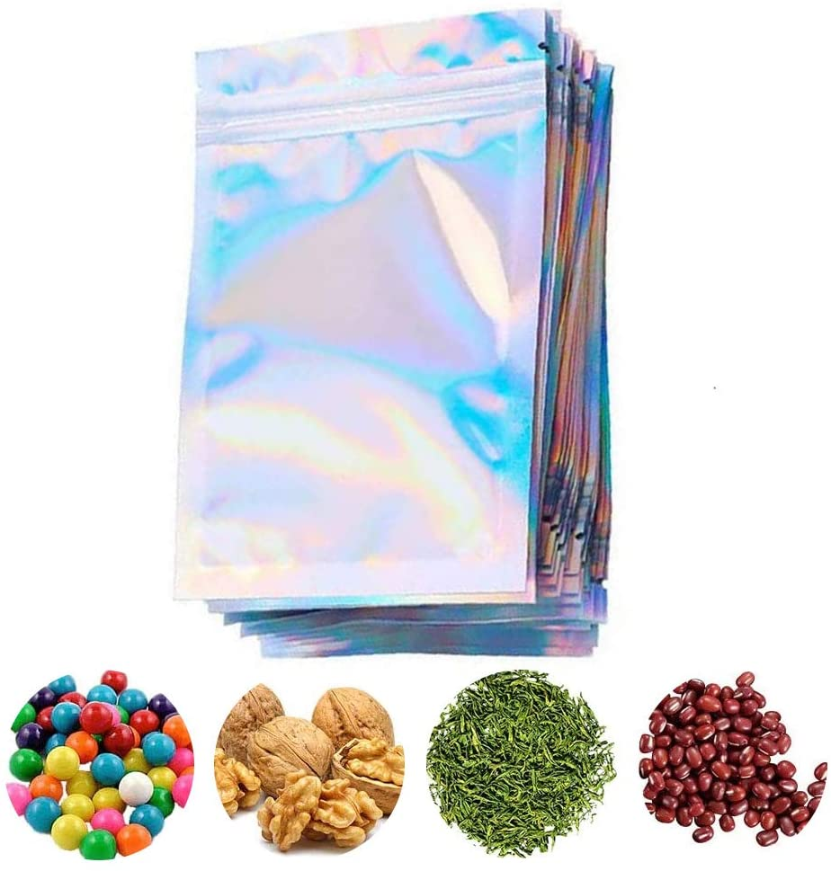 100 Pieces Resealable Smell Proof Bags, Foil Zip lock Bags Double-Sided Metallic Foil/Mylar Zip lock Bags Food Storage Bags Hanging Storage Pouch for Storage (Without Hanging Hole, 7 x 10 Inch)
