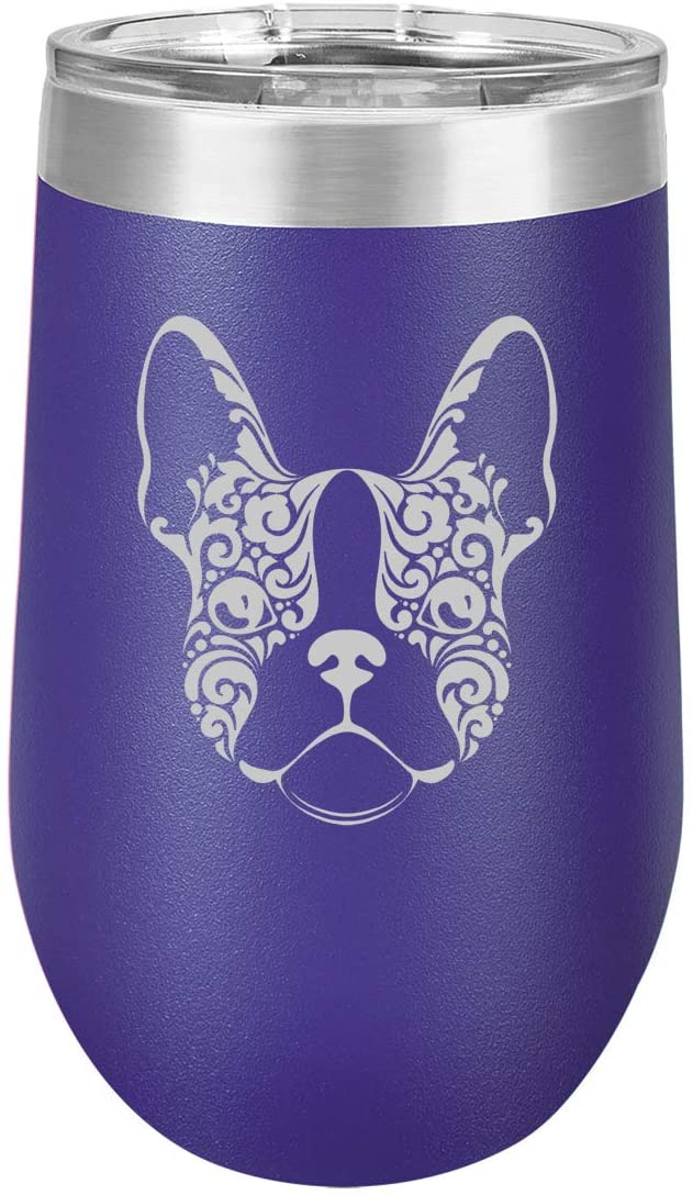 16 oz Double Wall Vacuum Insulated Stainless Steel Stemless Wine Tumbler Glass Coffee Travel Mug With Lid French Bulldog Floral (Purple)