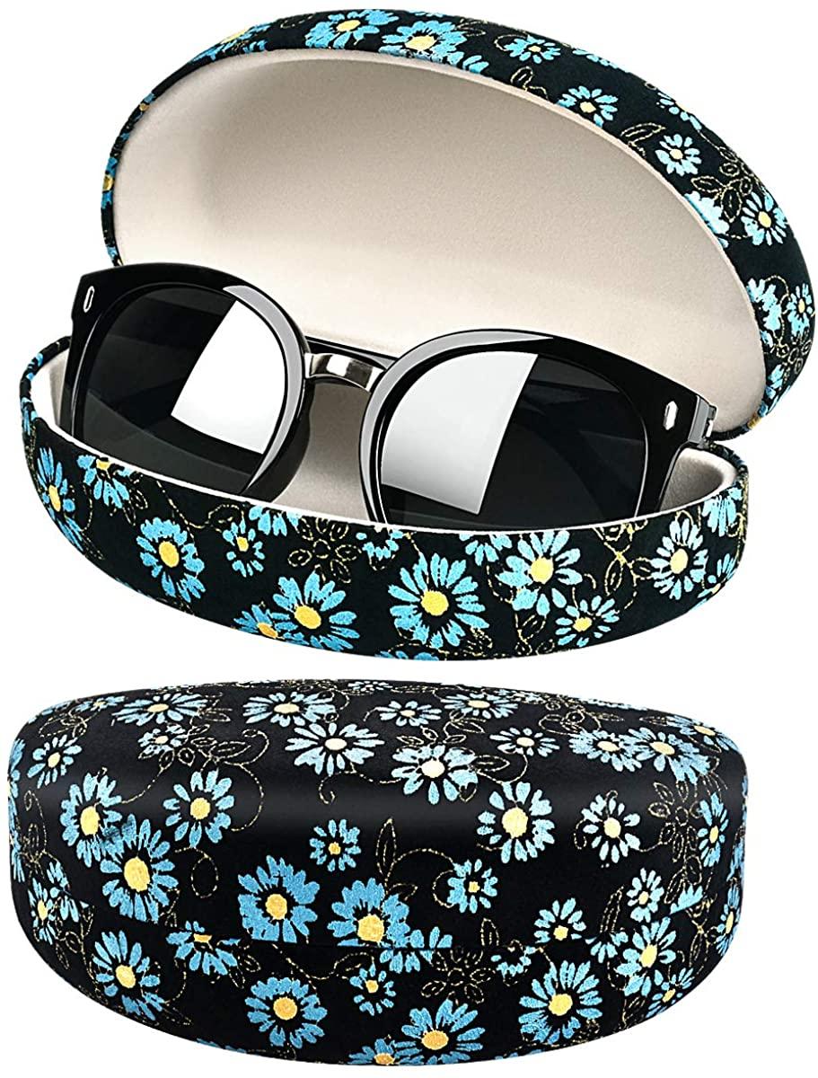 Flower Plant Chrysanthemum Sunglasses Case, Oversized Shell Eyeglasses Clam Shell Reading Glass Holder Storage Box