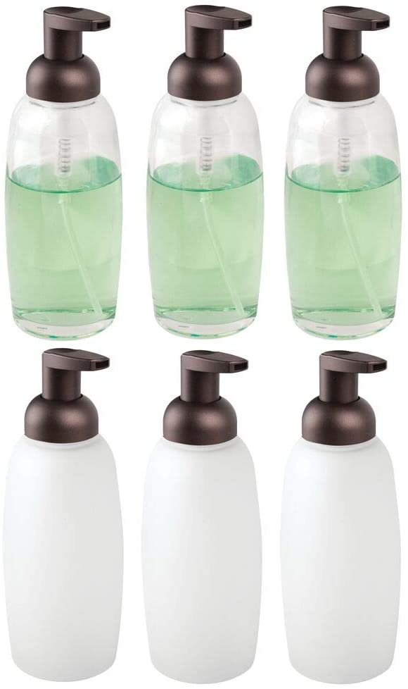 mDesign Modern Glass Refillable Foaming Soap Dispenser Pump Bottle for Bathroom Vanity Countertop, Kitchen Sink - Save on Soap - Vintage-Inspired, Compact Design - 6 Pack - Clear/Bronze & Frost/Bronze