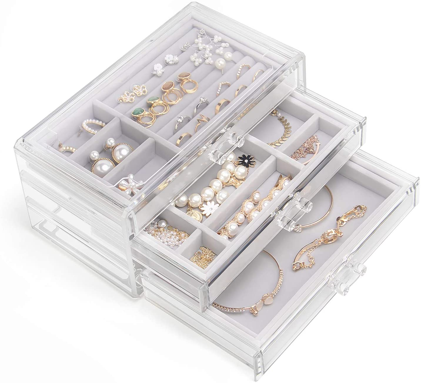 YestBuy Jewelry Box, Velvet Jewelry Organizer for Women, Acrylic Jewelry case, with3 Tier Travel Storage Case for Earring Bangle Bracelet Necklace and Rings Storage, Gray