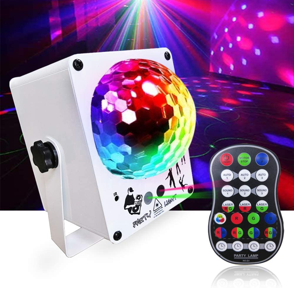 PHICOOL Disco Ball Light, Dj Lights Strobe Stage Light Projector, Sound Activated 60 Patterns with Remote Control for Parties Light Indoor Xmas Club Bar KTV Holiday Dance Christmas Birthday.
