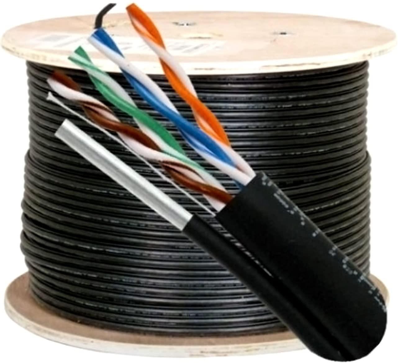 Vertical Cable Cat5e, 350 Mhz, UTP, UV Jacket, Outdoor, CMX, Messenger, 1000ft, Black, Bulk Ethernet Cable, Wooden Spool