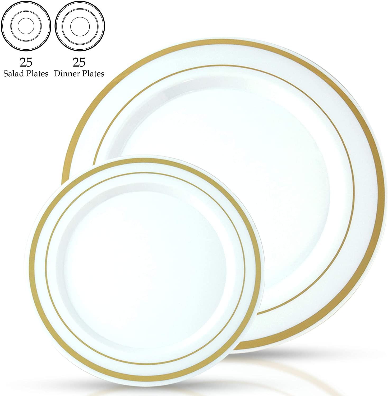 Signature Tableware Premium Disposable Plates - 50 Pack(25 Guests) - 25 x 10.25