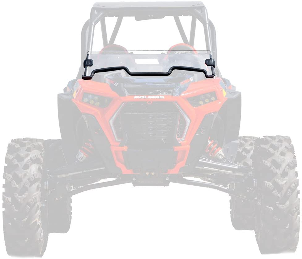 SuperATV Heavy Duty Clear Standard Half Windshield for Polaris RZR Turbo S (2018+) - 250X Stronger Than Glass - Installs in 5 Minutes!