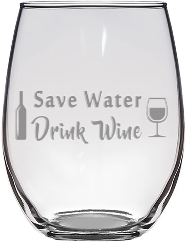 Save Water, Drink Wine Laser Engraved Stemless Wine Glass