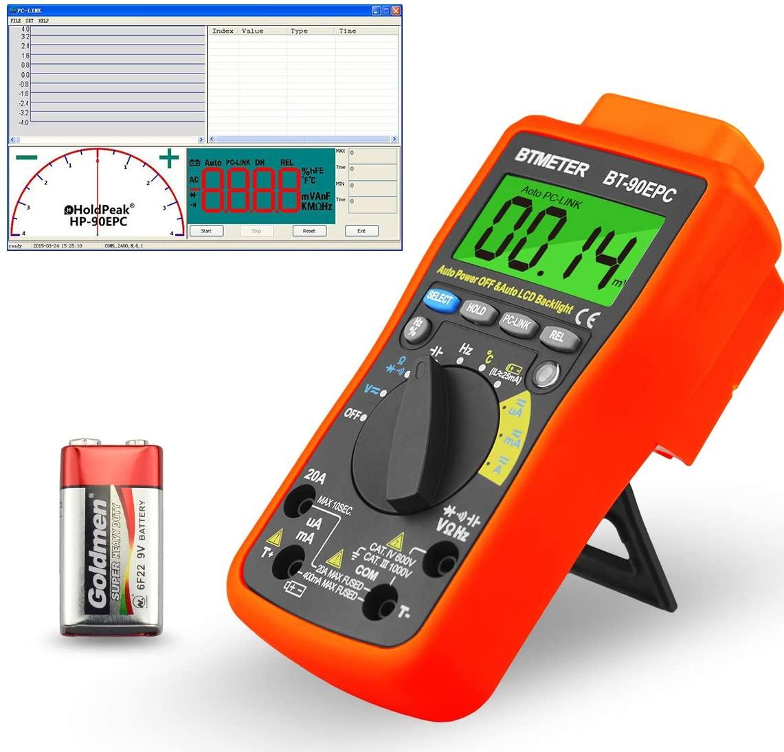 Data Logging Digital Multimeter, BTMETER BT-90EPC Auto-Ranging AC/DC Volt Amp Ohm Temperature Electric Multi-tester Sync to Computer via USB