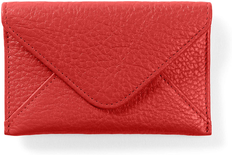 Leatherology Scarlet Envelope Card Case, Business Card ID Holder, Full Grain Leather
