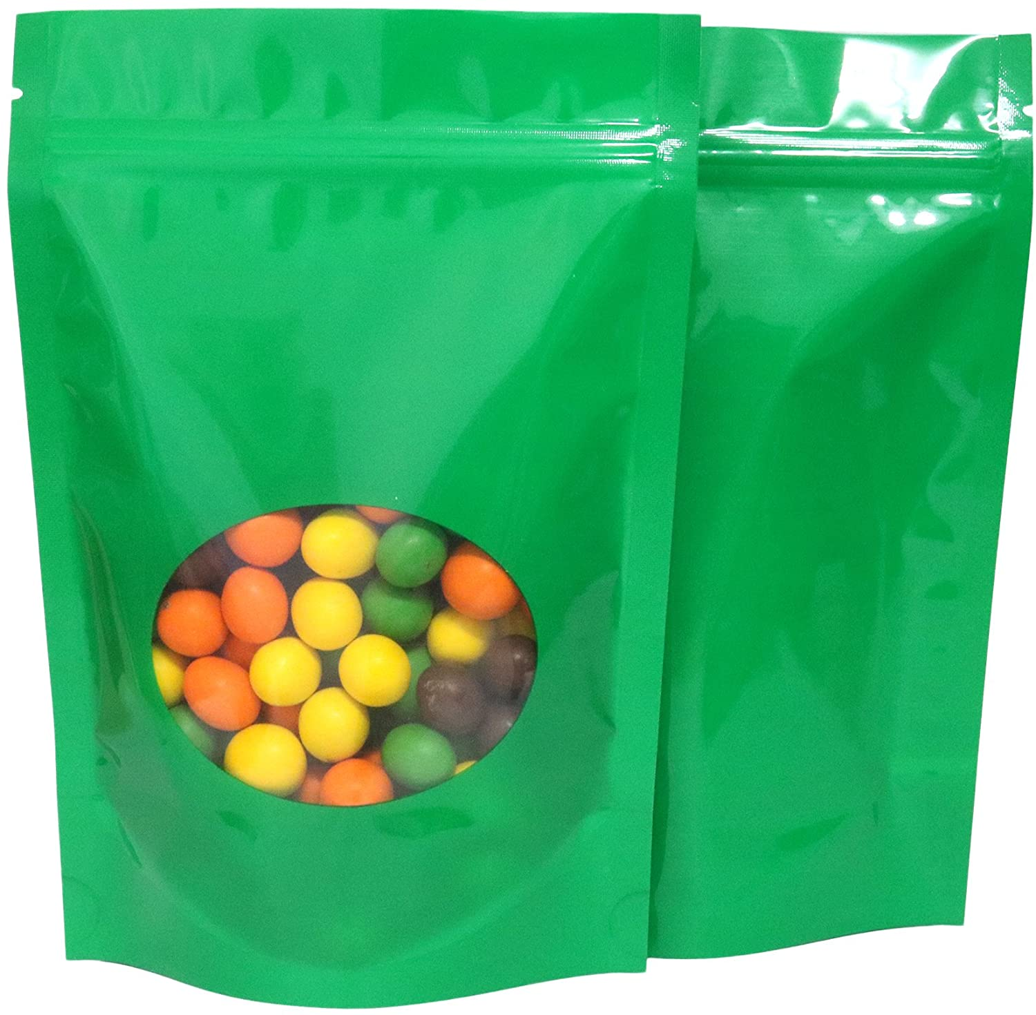 Double-Sided Matte/Glossy Color with Clear Round Window Stand-Up Pouch (100 Bags/Pack) (4