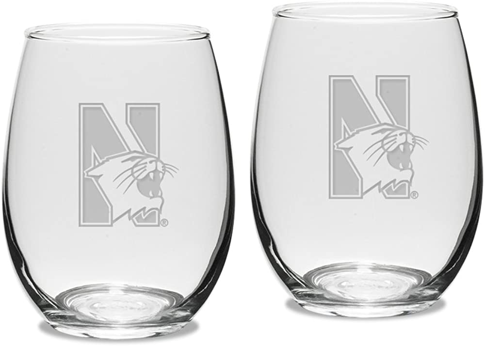 University Glass NCAA Northwestern Wildcats Adult Set of 2 - 15 oz Stemless Wine Glass Deep Etched Engraved, One Size, Clear