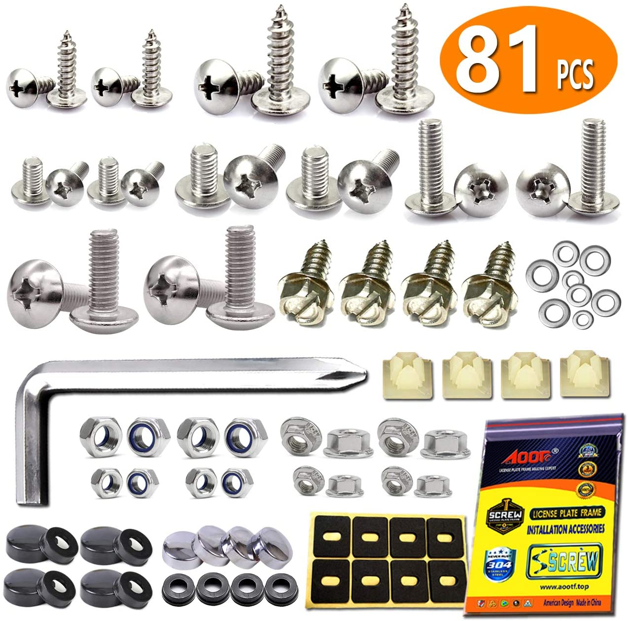 Aootf License Plate Screws Fasteners - Rust Stainless Steel Screws License Plate Bolts Fasteners for License Plates & Plate Frame on Cars Trucks, Black & Chrome Screw Caps | Fasteners Kit -81 PC