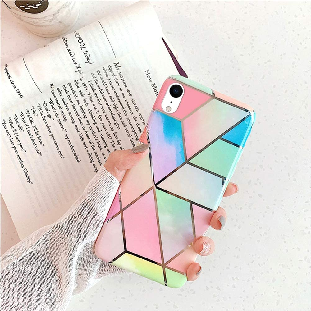 Case for iPhone XR Marble Case,Ultra Thin Girls Women Polished Plating Mosaic Marble Designed Flexible Soft Rubber Gel TPU Back Protective Case Cover for iPhone XR Silicone Case,Colorful
