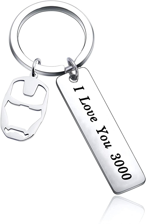 ENSIANTH I Love You 3000 Keychain Iron Man Inspire Gift Avengers Keychain Avenger Fan Gift for Wife, Girlfriend, Boyfriend, Husband Gift