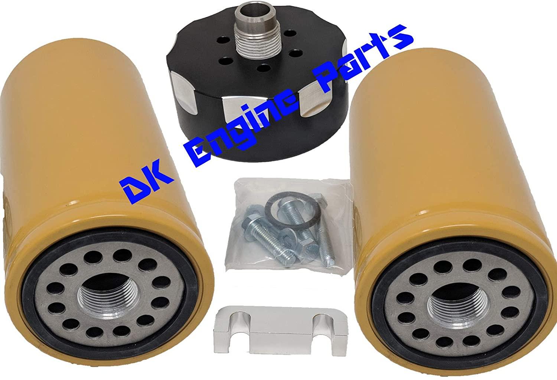 GM Chevy Chevrolet Duramax 6.6 6.6L Diesel BLACK CAT Caterpillar Fuel Filter Adapter 2001-2016 - DK Engine Parts) (Black with 2 DK Filters)