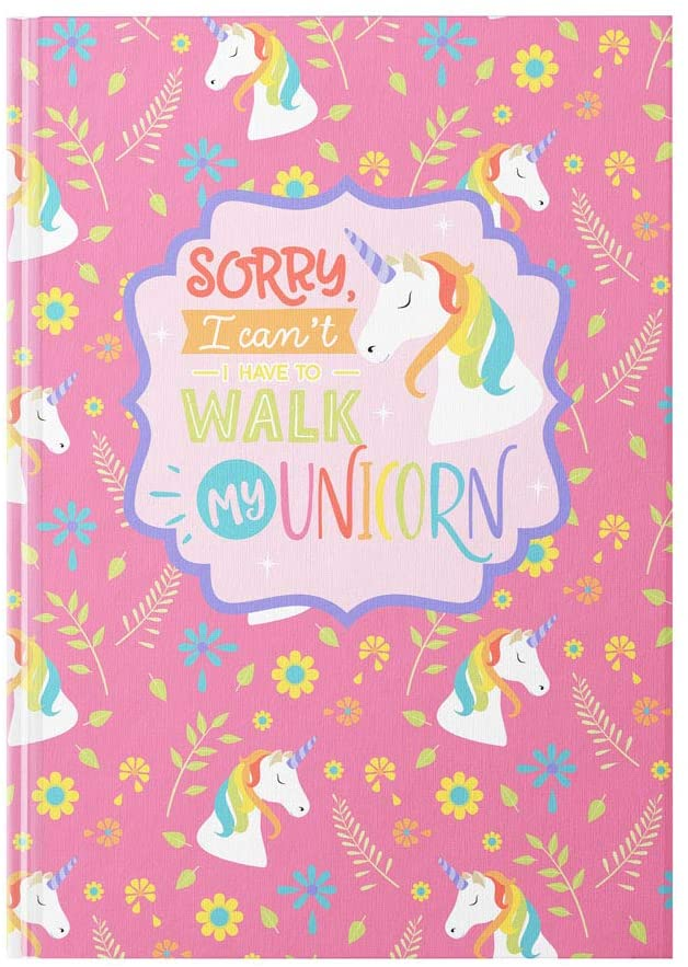 Cute Sorry, I Can't - I Have to Walk My Unicorn Hardcover Journal for Women, Girls, Teens, Tweens, 5.75 inches by 7.5 inches, 112 Lined Pages, by AmandaCreation