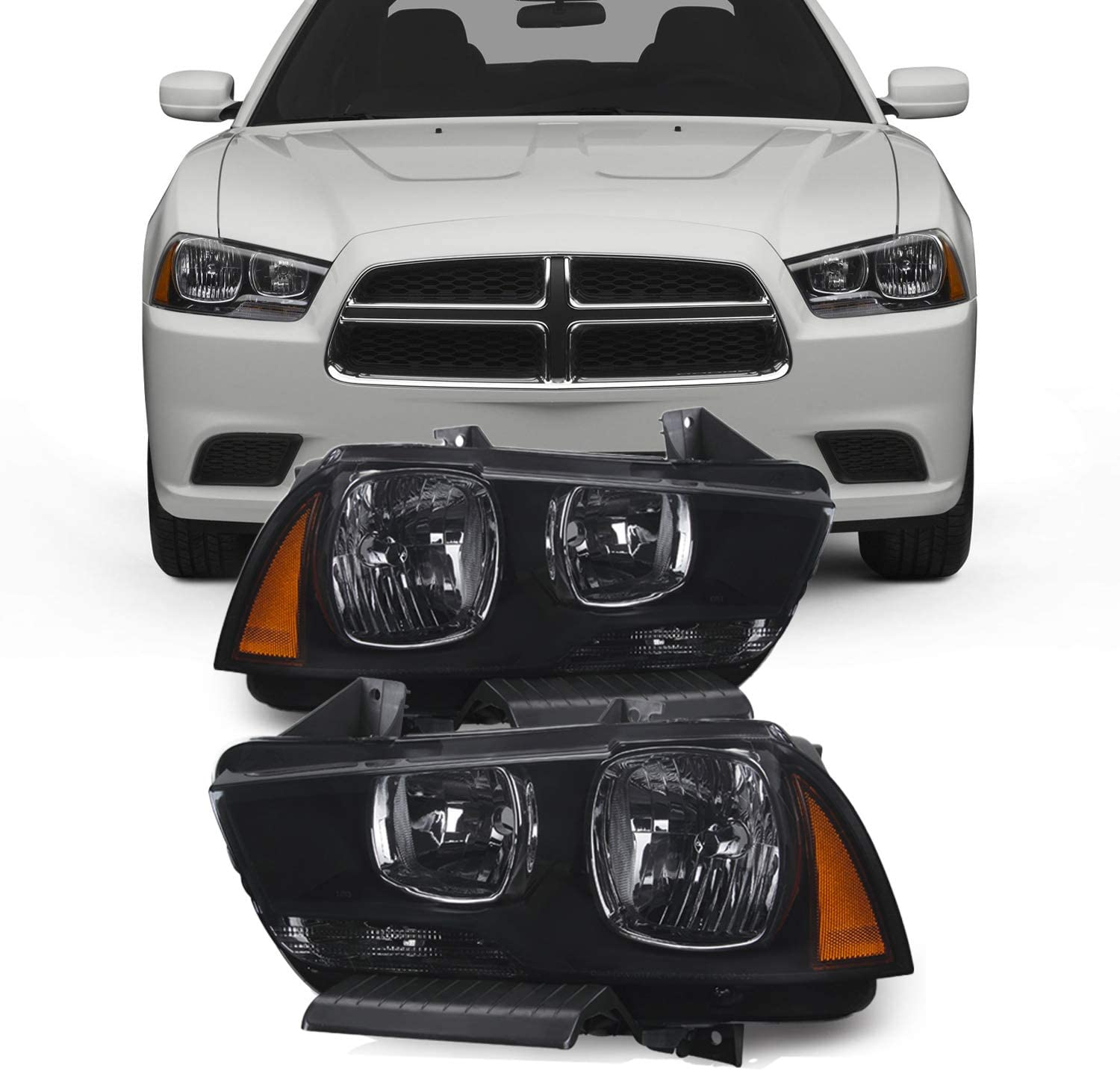 For Black Smoke 11-14 Dodge Charger Headlights Front Lamps Direct Replacement Pair Left + Right