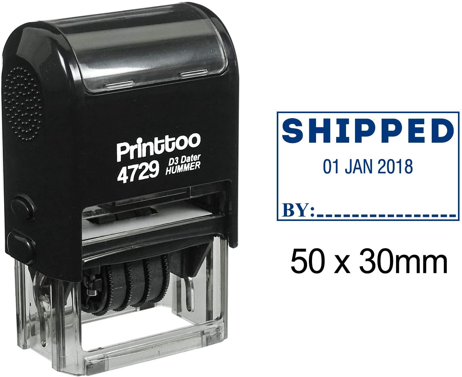 Printtoo with Shipped by Text Date Stamp Self Inking Office Stationery Dater Rubber Stamp-Blue