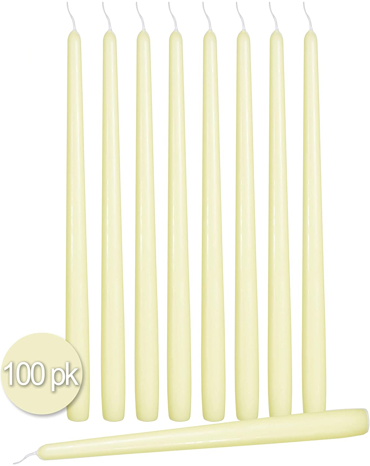 Ner Mitzvah 100 Pack Tall Taper Candles - 10 Inch Ivory Dripless, Unscented Dinner Candle - Paraffin Wax with Cotton Wicks - 8 Hour Burn Time