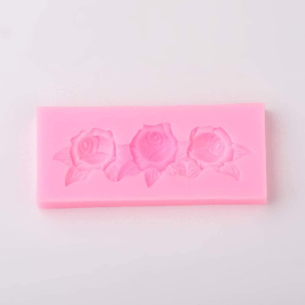 UR URLIFEHALL 2pcs Rose Flower Design Resin Food Grade Silicone Molds Fondant Molds for DIY Cake Decoration Jewelry Making Random Color