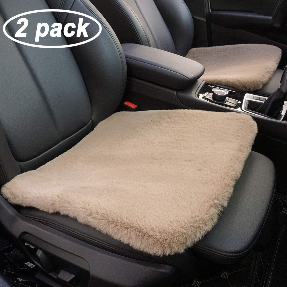 GSPSCN 2 Pack Soft Luxurious Faux Sheepskin Fur Seat Cushion Winter Warm Universal Car Interior Seat Cover (18 inch) Pad Mat Fit Auto, SUV, Truck, Office,Home Chair (Coffee)