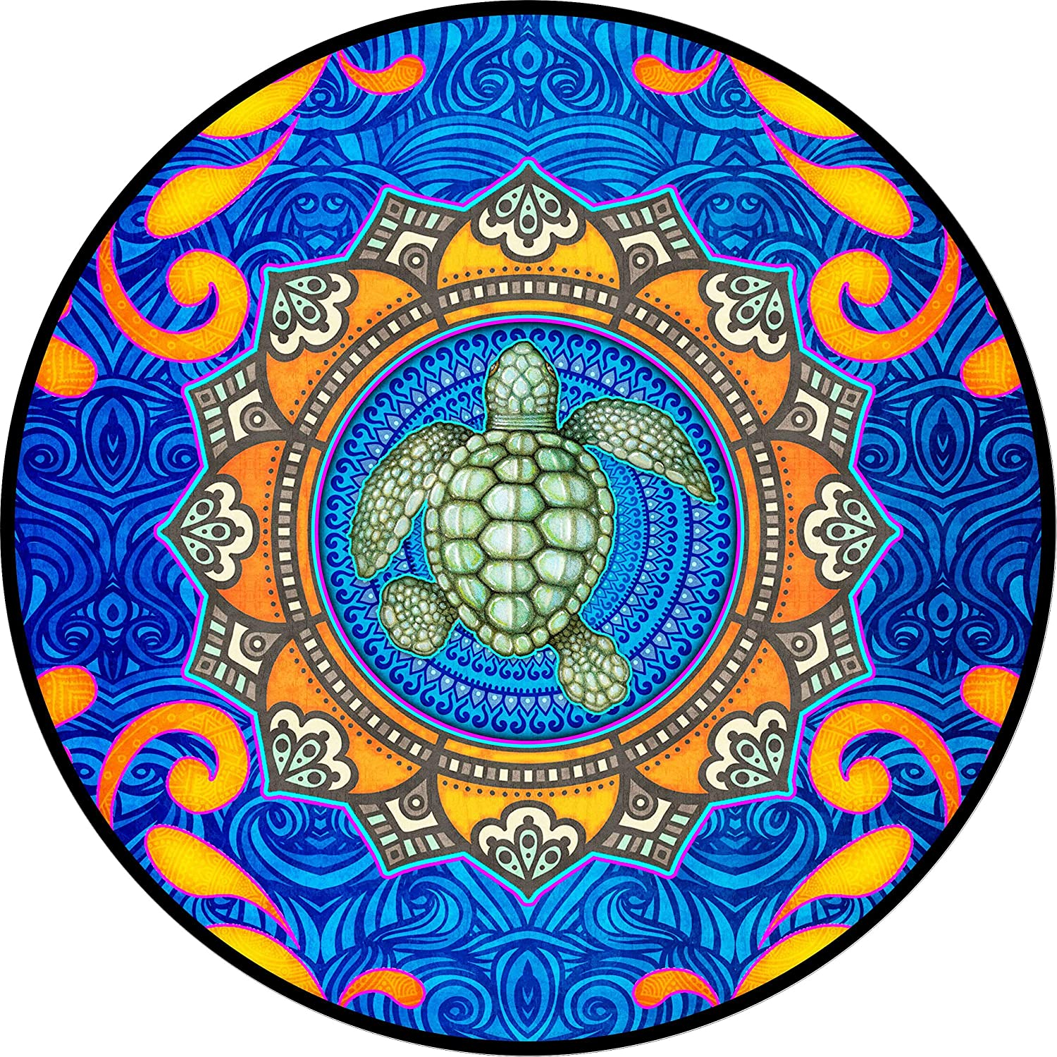 TIRE COVER CENTRAL Mystical Sea Turtle Wheel Spare Tire Cover (Select tire Size/Back up Camera Option in MENU) Sized to Any Make Model for 255/75R17 Dan Morris(c)