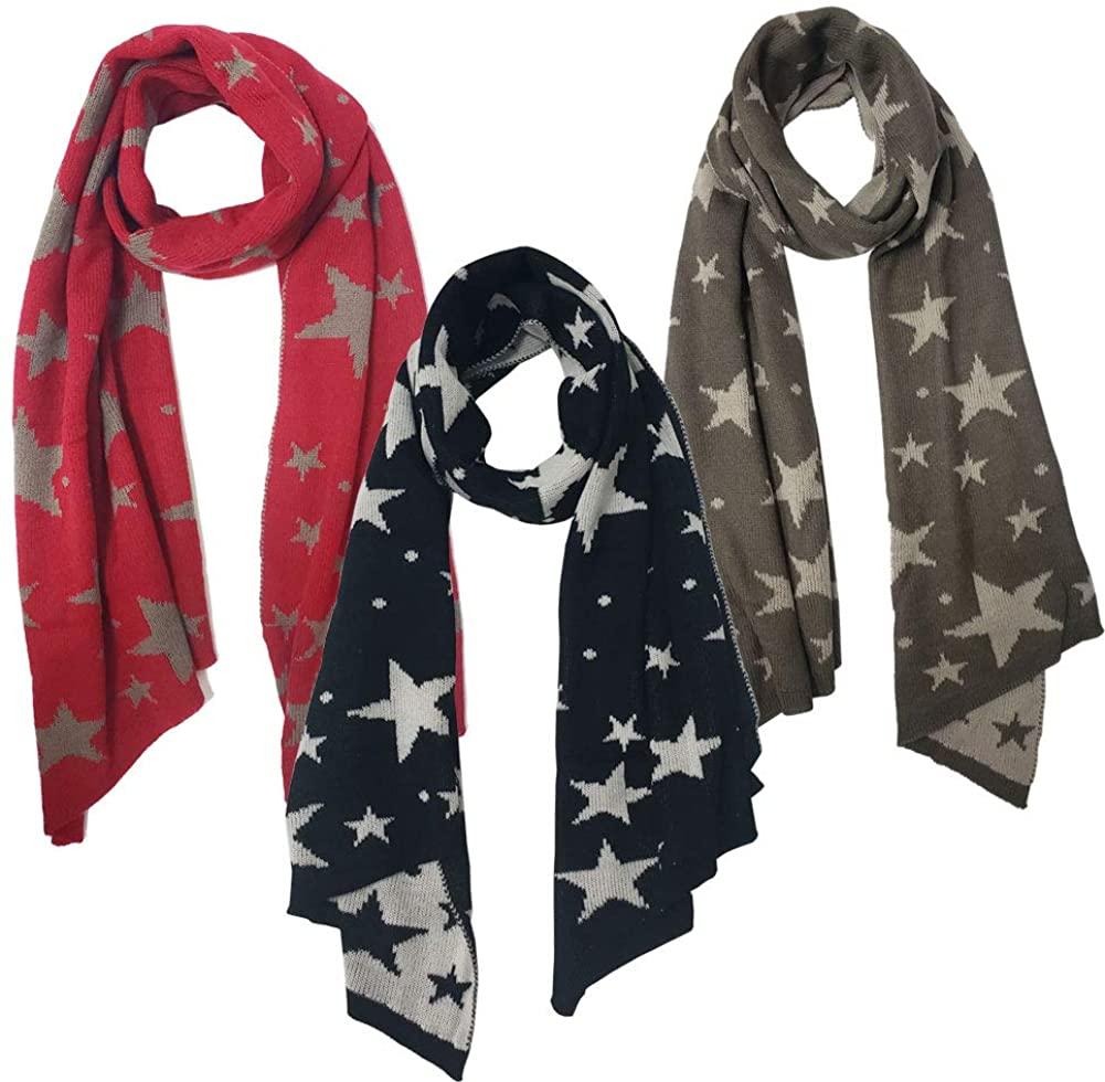 3 Pcs Women Winter Warm Scarf Fashion Infinity 2 Circle Scarf Knitted Shawl Wrap