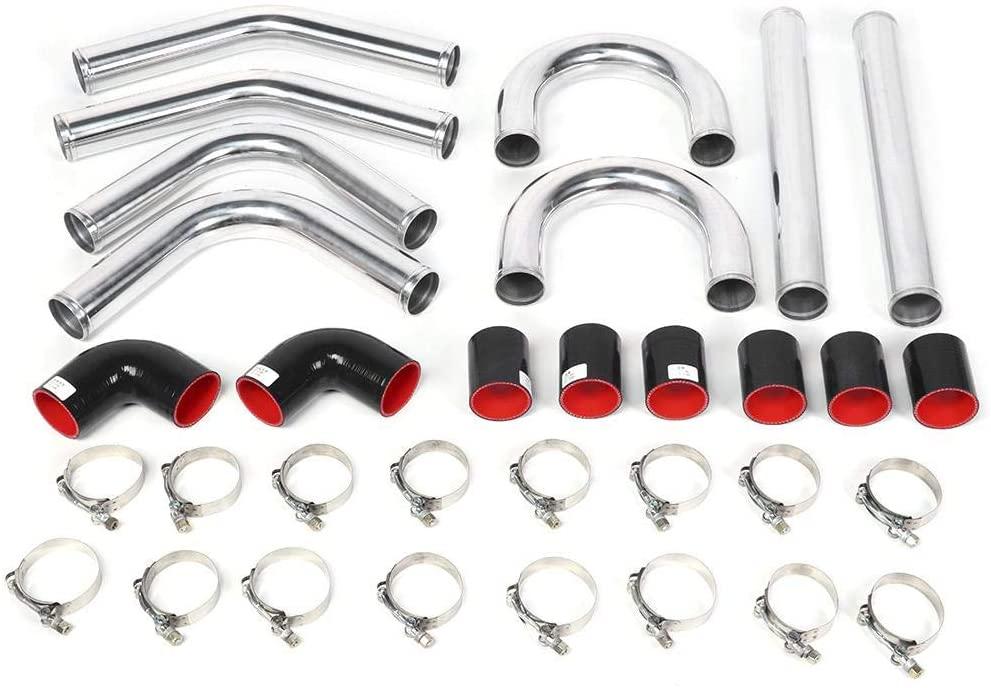 Duokon Intercooler Pipe Kit, 2.25in 57mm Universal Aluminum Pipe Silicon Hose Intercooler Turbo Piping Kit Modification