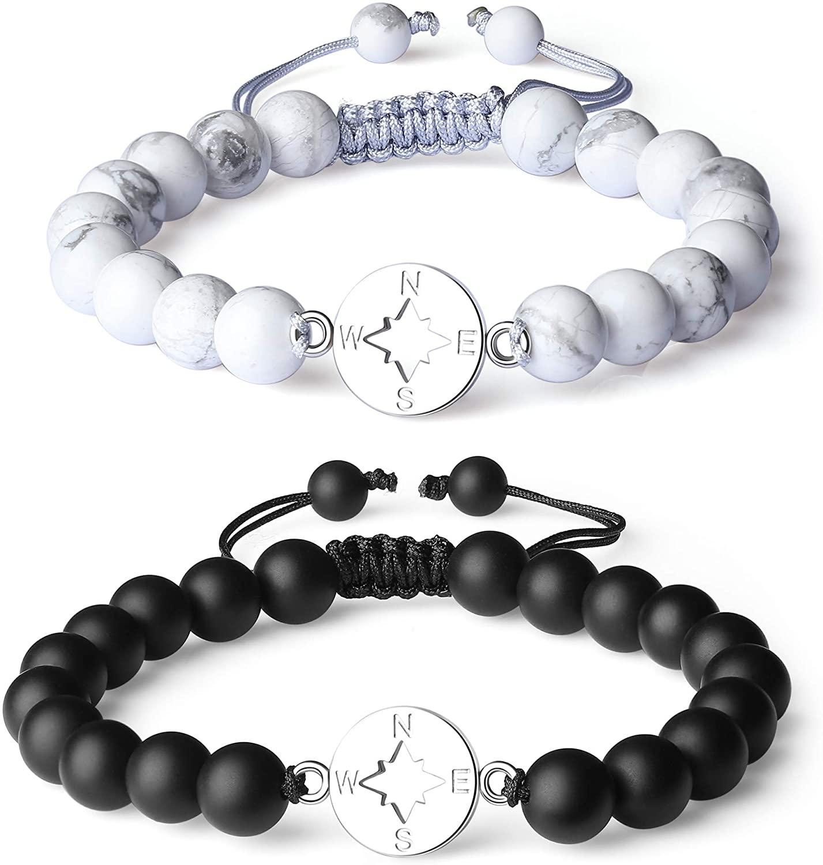COAI Long Distance Onyx Stone Compass Couples Bracelets