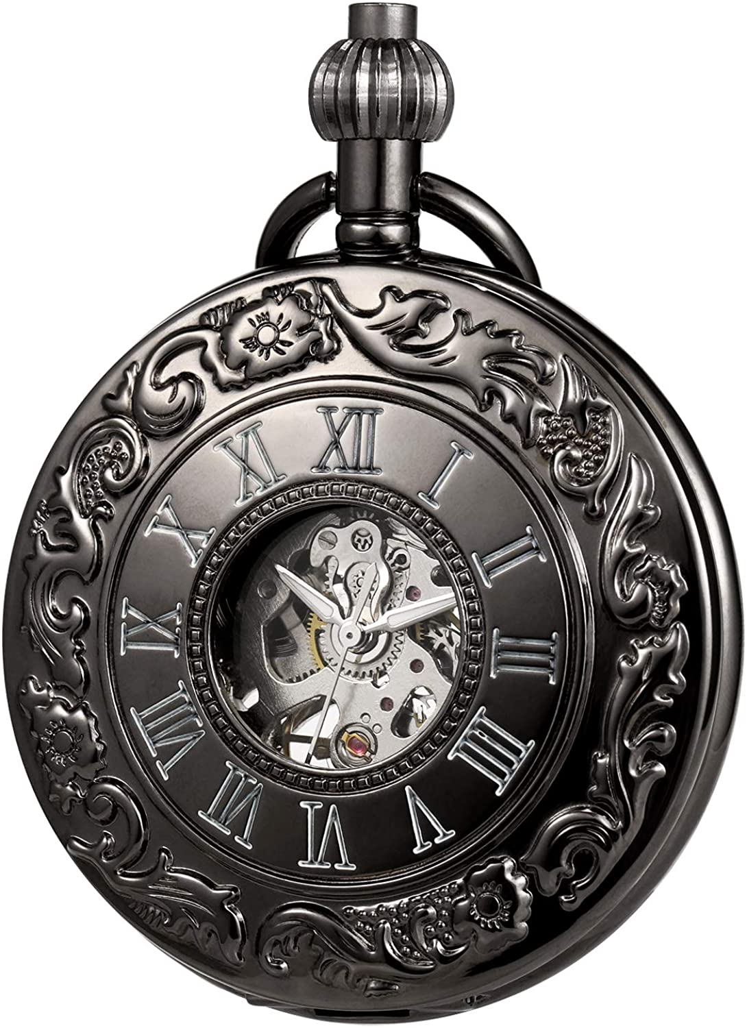 MORFONG Pocket Watch Retro Silver Classic Mechanical Steampunk Roman Numerals Fob Watch for Men Women with Chain + Gift Box