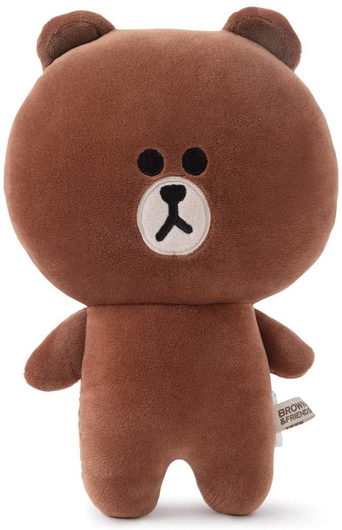 LINE FRIENDS Brown Character Soft Plush Figure Flat Decorative Sofa Cushion Pillow, Brown