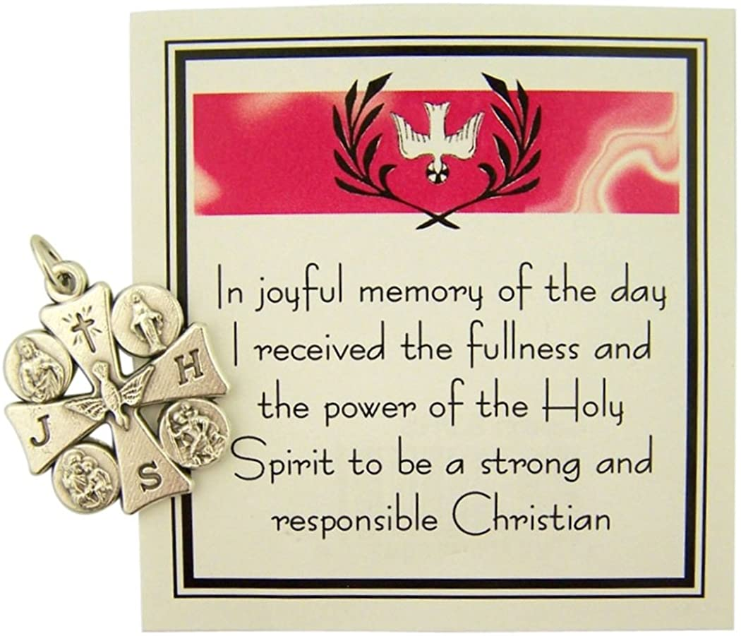 DTC Silver Tone 4-Way Holy Spirit Confirmation Cross Medal with Prayer Card, 1 Inch