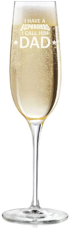 I Have A Superhero I Call Him Dad Engraved 8 oz Champagne Flute - 2pcs set