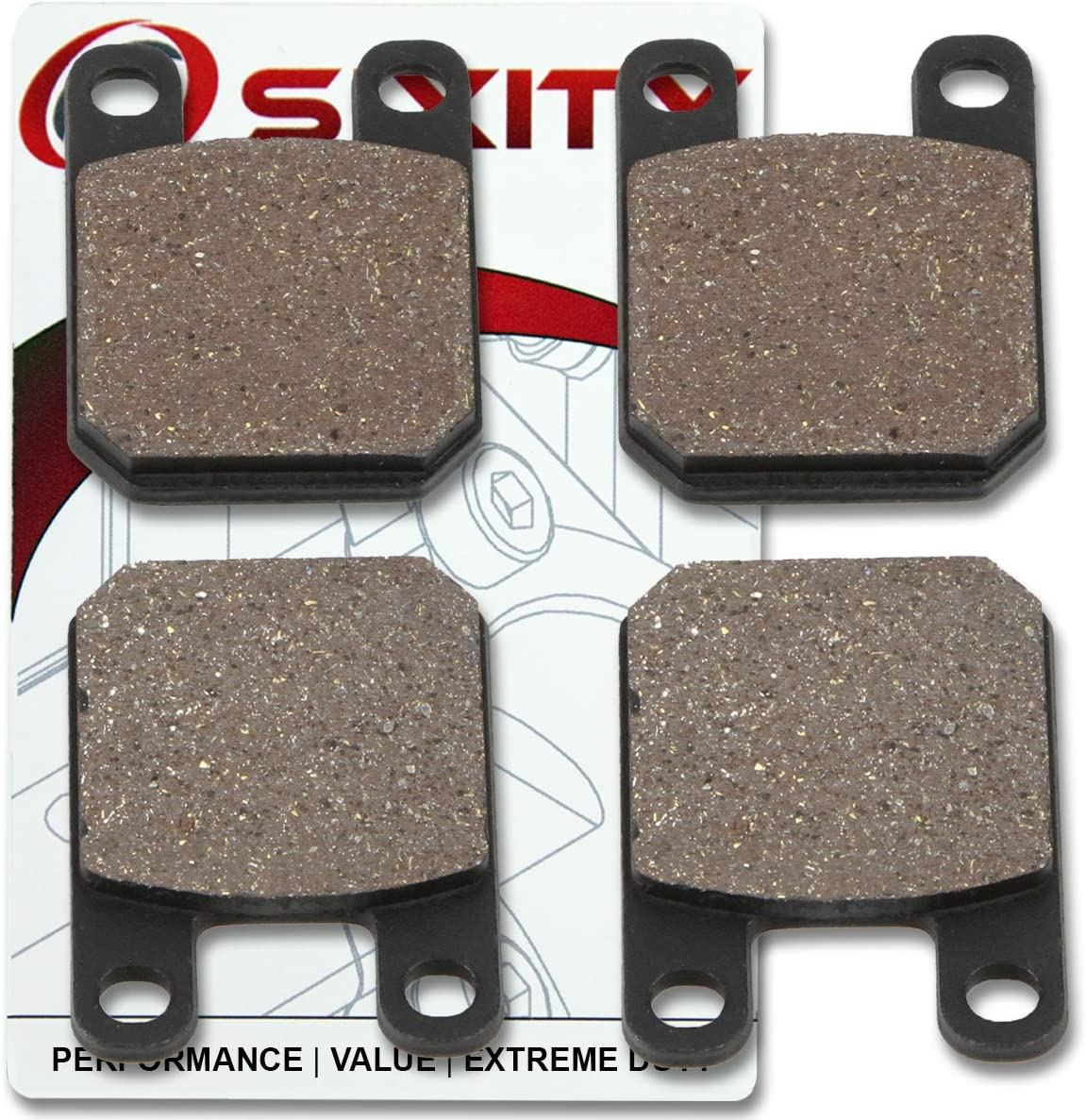 Sixity Front Rear Ceramic Brake Pads 1989-1996 for Maico M-Star Rotor Models Set Full Kit Complete