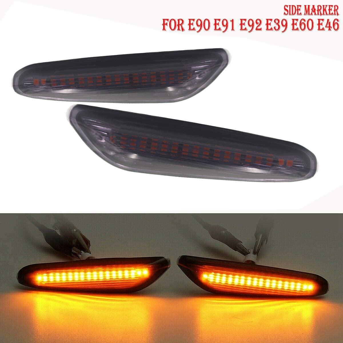 GSRECY Smoke Lens Amber LED Side Marker Turn Signal Light For BMW E90 E91 E92 E93 E46 E53 X3 E83 X 1 E84 E81 E82 E87 E88