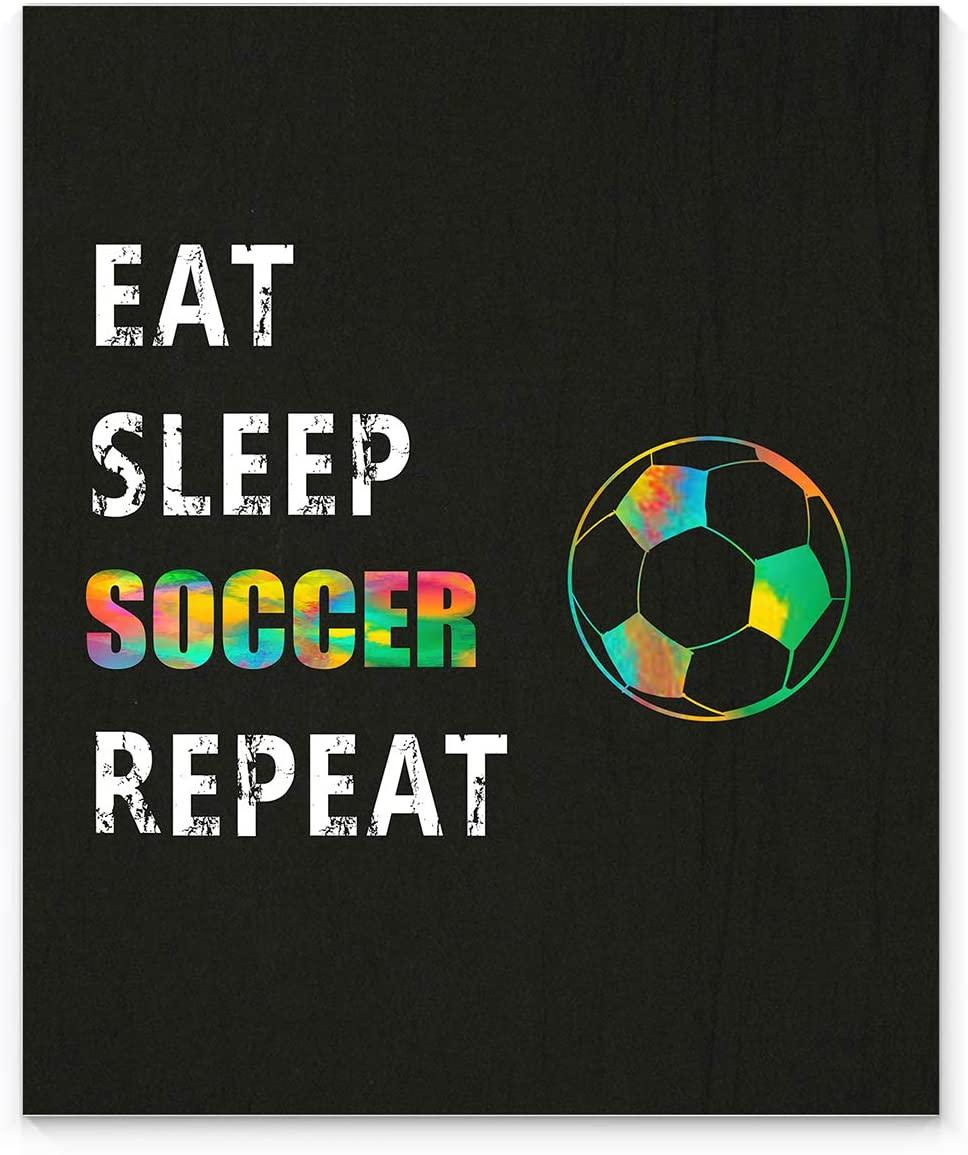 EAT SLEEP SOCCER REPEAT Sport Wall Art, 11x14 Unframed Art Print, Ideal for Soccer Coaches, Players and Soccer Fans