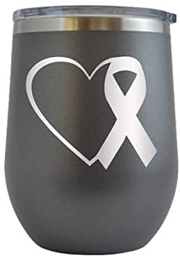 Heart Pink Ribbon Cancer Awareness - Engraved 12 oz Stemless Wine Tumbler Cup Glass Etched - Funny Birthday Gift Ideas for, her, mom, wife Breast Cancer Awareness Pink Ribbon Survivor (Grey - 12 oz)