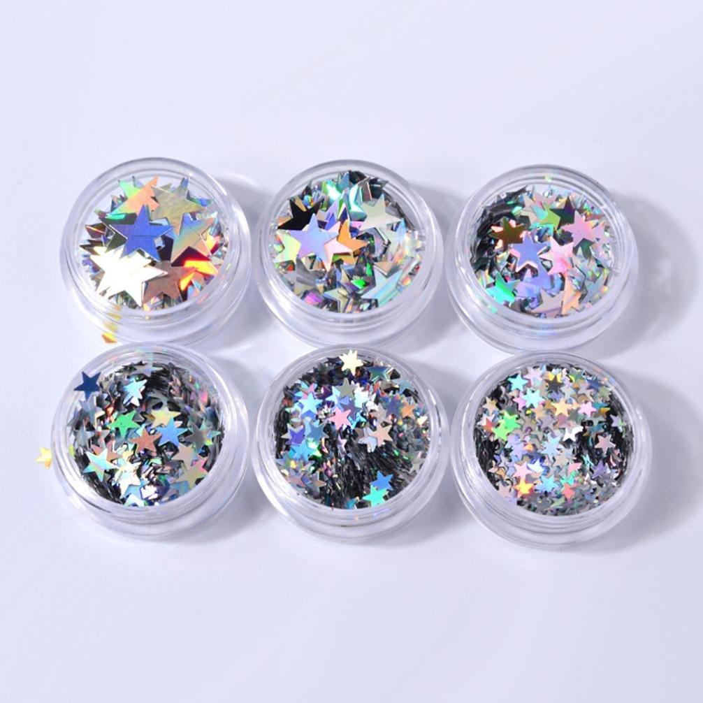 12PCS Nail Stickers Vincent&July Flame Reflections Tape Adhesive Foils DIY Decoration Nail Art (6 Boxes, Silver)