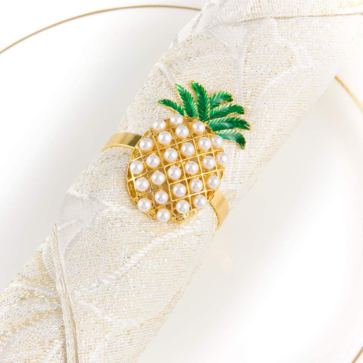 Alphatool Set of 6 Golden Pineapple Napkin Rings- Golden Pineapple Shaped Napkin Holder Rings Full of Pearls for Summer Holiday Hawaiian Theme Party Banquet Dinning Table Settings Decoration Gift