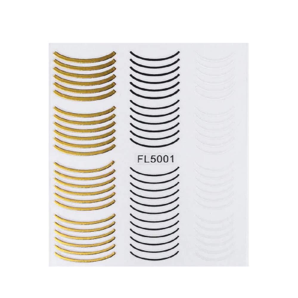 1pcs Gold White Nail Art Stickers 3D Curve Stripe Design Adhesive Nail Decals Tape Manicure Full Wraps Decorations (FL5001)