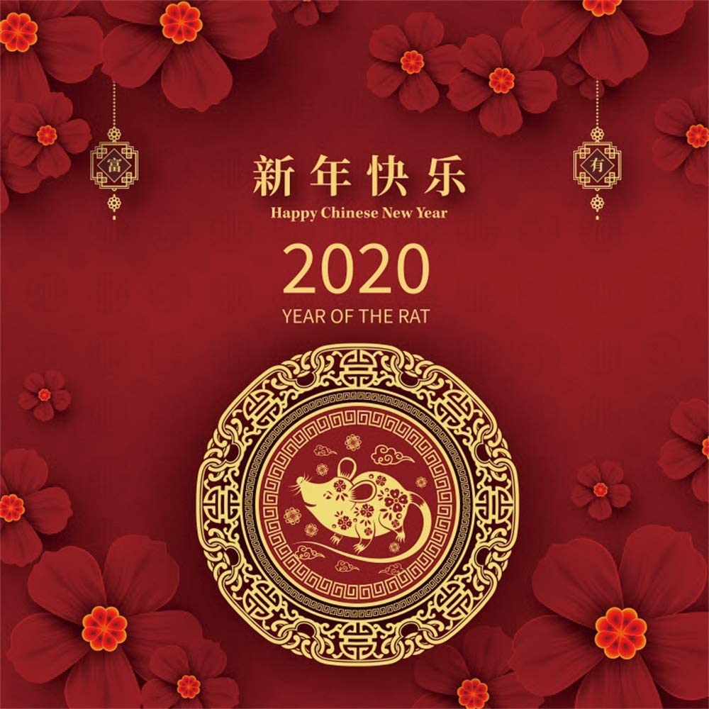Leowefowa 10x10ft Happy New Year of The Rat 2020 Backdrop Vinyl Chinese Style Mouse Paper-Cut Flowers Red Photography Background New Year Party Banner Greeting Card Wallpaper Studio
