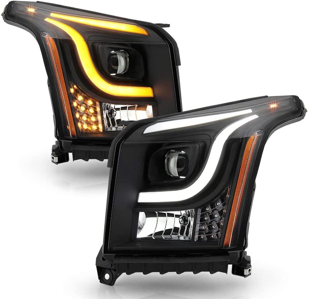 ACANII - For [Halogen Model] 2015-2017 GMC Yukon LED DRL Tube Swithback Signal Projector Headlights Headlamps Assembly